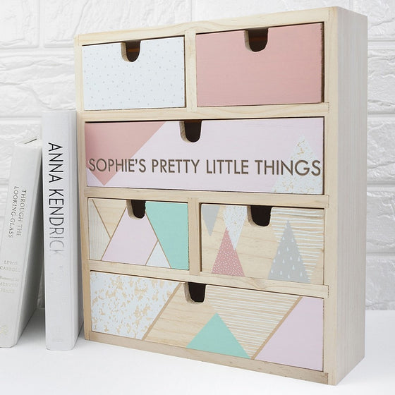 Personalised Geometric Accessory Drawers, Storage - Neon Cherry