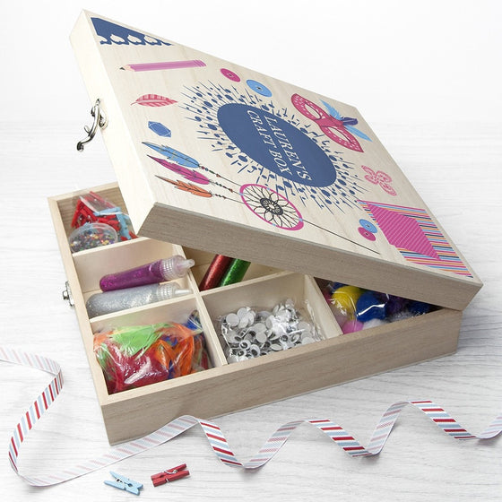 Personalised Girl's Craft Box, Craft Boxes - Neon Cherry