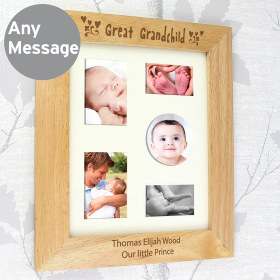 Personalised Great Grandchild Wooden Photo Frame - 10x8