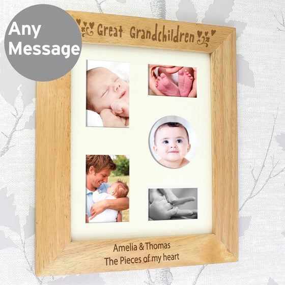 Personalised Great Grandchildren Wooden Photo Frame - 10x8