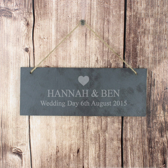 Personalised Heart Motif Hanging Slate Plaque