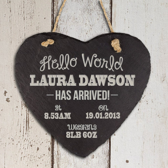 Personalised Hello World Slate Heart Keepsake, Hanging Hearts - Neon Cherry