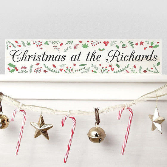 Personalised Holly Festive Christmas Mantle Decoration, Christmas Signs - Neon Cherry