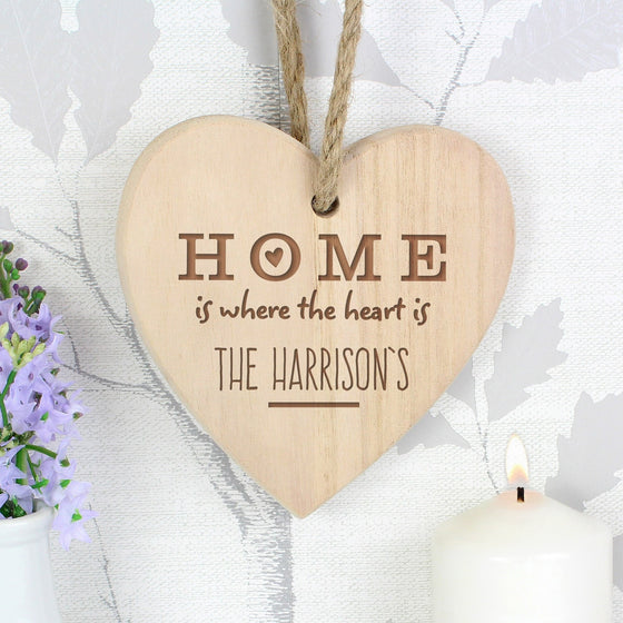 Personalised Home is Where... Chunky Wooden Heart Decoration