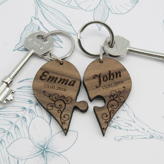 Couples' Romantic Joining Heart Keyring, Keyrings - Neon Cherry