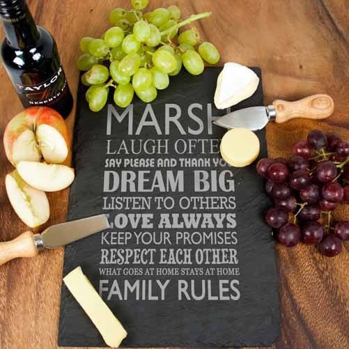 Personalised Large Family Rules Slate Board, Cheeseboards - Neon Cherry