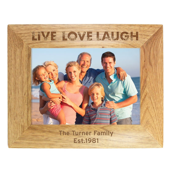 Personalised Live Laugh Love Wooden Photo Frame