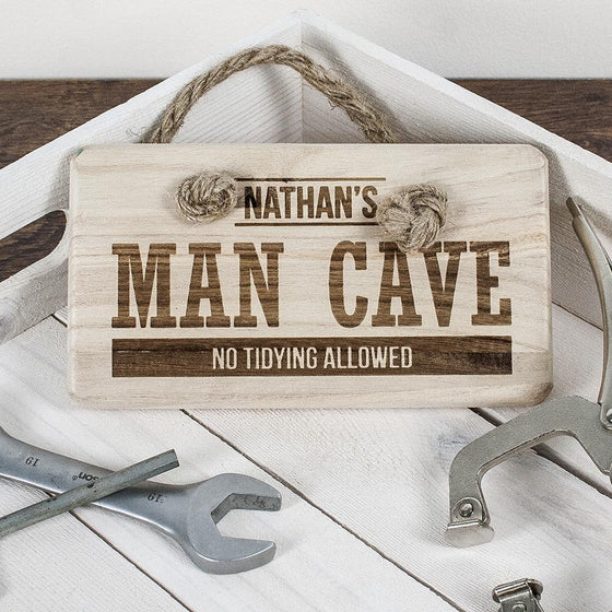 Personalised MAN CAVE Wooden Sign, Signs - Neon Cherry