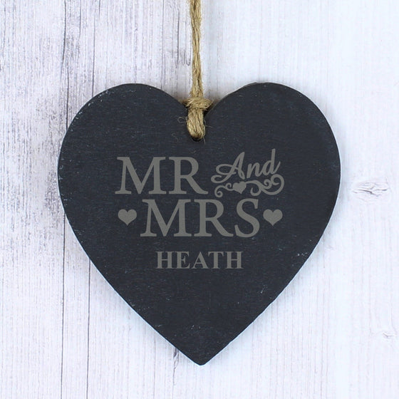 Personalised Mr & Mrs Slate Heart