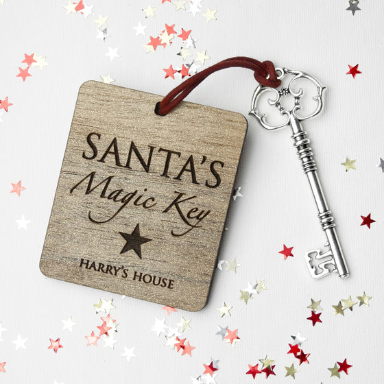 Personalised Santa's Magic Key, Christmas Decorations - Neon Cherry