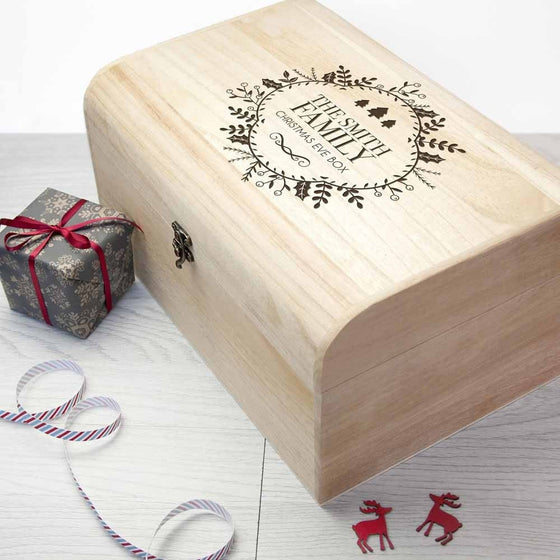 Personalised Traditional Family Christmas Eve Chest, Christmas Eve Boxes - Neon Cherry