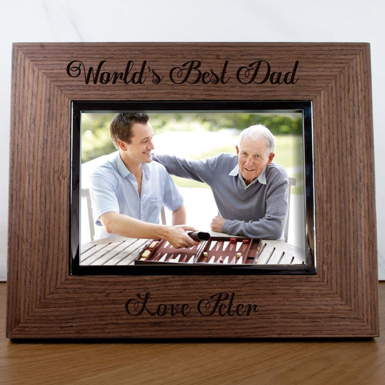 Personalised World's Best Dad Walnut Photo Frame