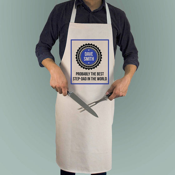 Probably The Best Step Dad In The World Apron, Aprons - Neon Cherry