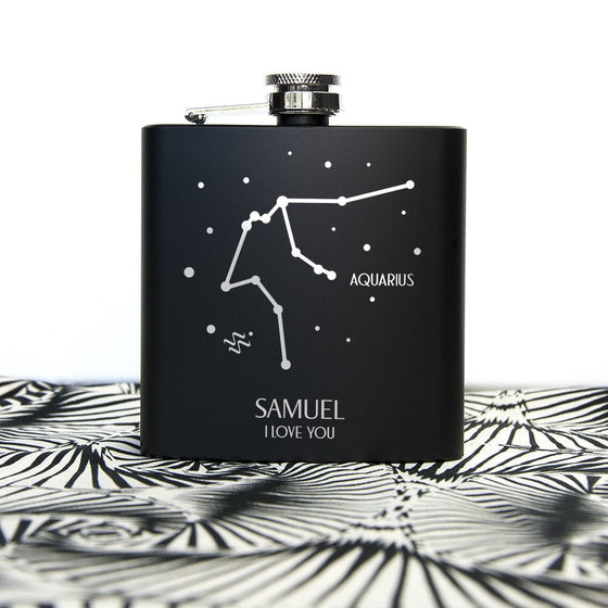 Star Constellation Matte Black Hip Flask, Hip Flasks - Neon Cherry