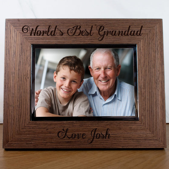 Worlds Best Grandad Engraved Photo Frame, Photo Frames - Neon Cherry