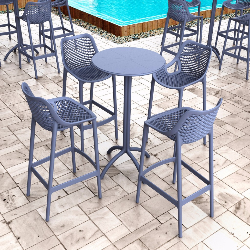 Compamia Dark Gray Air Resin Outdoor Bar Stool Isp068 Dgr Set Of 2