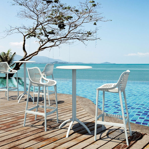 Compamia White Air Resin Outdoor Bar Stool Isp068 Whi Set Of 2 Neat