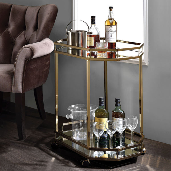 Lacole Mirror And Champagne Serving Bar Cart 98197 By Acme Neat