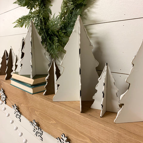 3D White Wood Christmas Trees