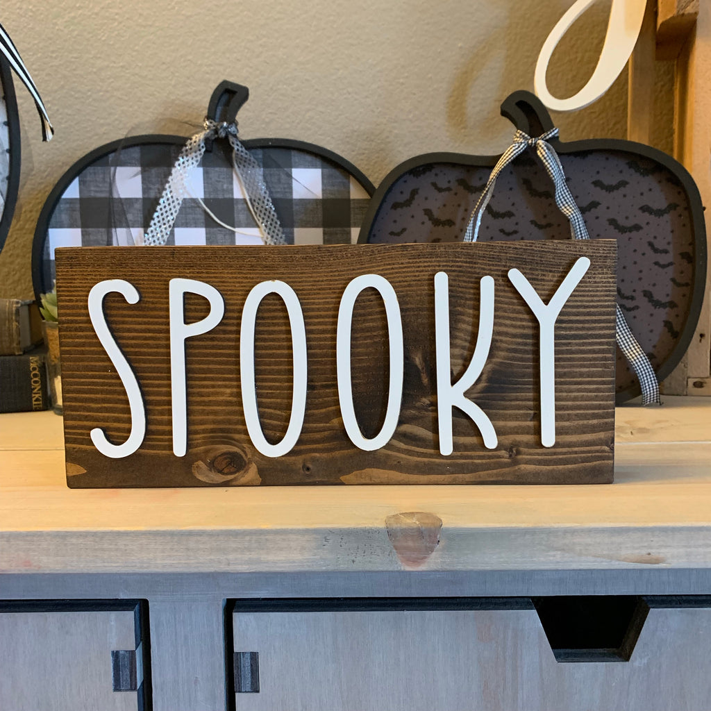 Wood Block Spooky Wooden Home Decor