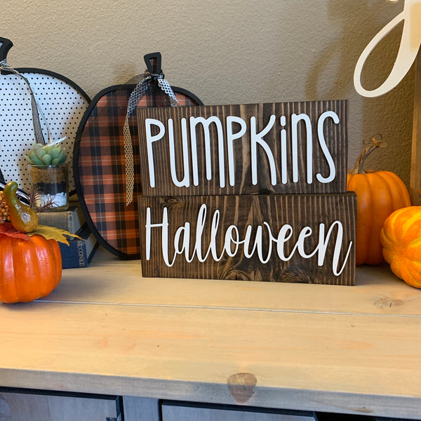 Halloween Wood Block Fall Wooden Home Decor