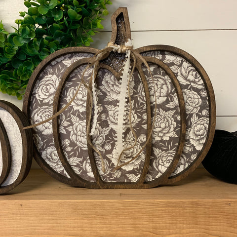 ***OUT OF STOCK PAPER***Message for other options, Large Neutral Wood Pumpkin Halloween Decor