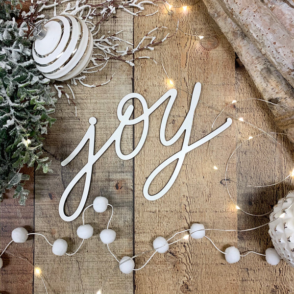 Joy Christmas Tree Ornament Word, Hand Lettered Christmas Ornaments