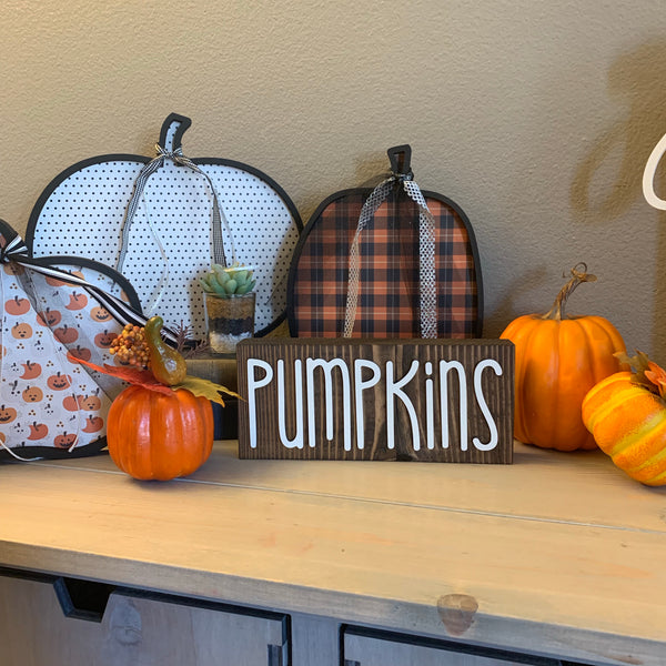 Wood Block Pumpkins Wooden Home Decor