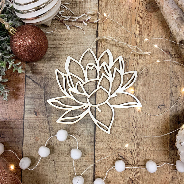 White Flower Christmas Tree Ornaments- Sets of 5 or 10