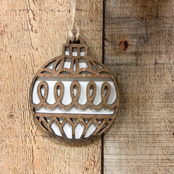 Neutral Wood Ball Ornaments-Set of 6