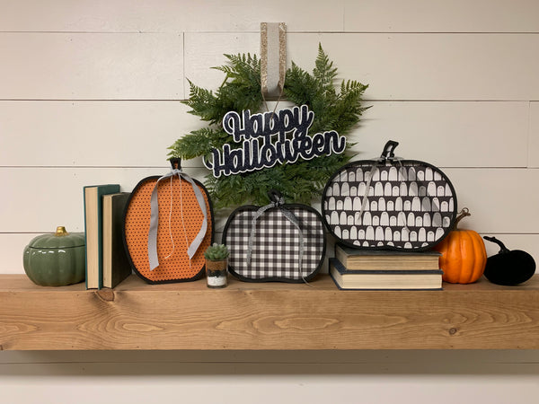 Wood Pumpkin Halloween Decor, Wooden Pumpkin Marquee Pumpkins