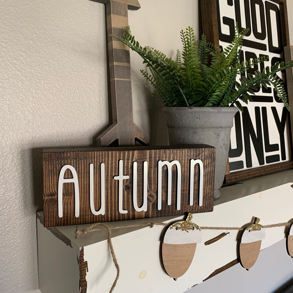 3d Autumn Wood Block Wooden Home Decor