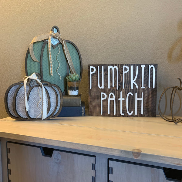 Pumpkin Patch Wood Block Fall Wooden Home Decor