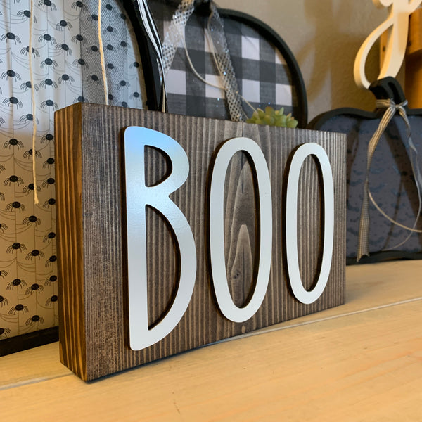 Boo Halloween Wood Block Fall Wooden Home Decor