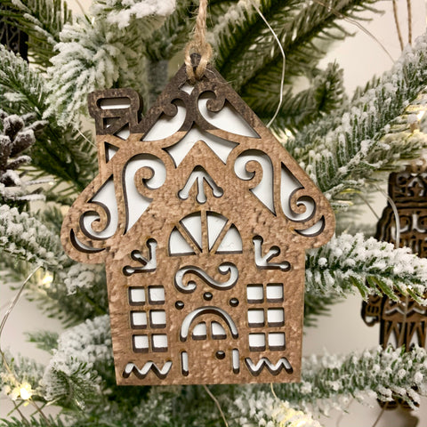 Set of 5 Gingerbread House Ornaments