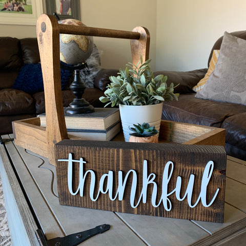 3d Thankful Wood Block Wooden Home Decor