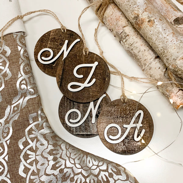 Christmas Monogram Cursive Letter Tags, Christmas Ornaments