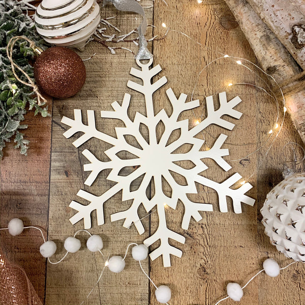White Snowflake Christmas Tree Ornaments- Set of 5 or 10