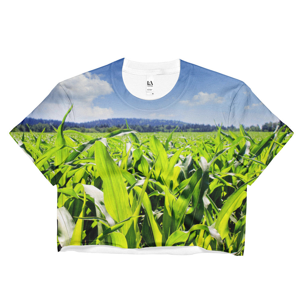 crop crop top, a crop top with crops, corn crop top