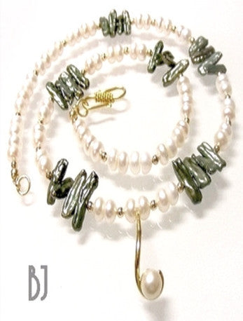 14kt Gold and Pearl Drop with White Pearls and Green Biwa Pearls-Adornments by BJ