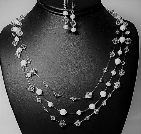 Triple Strand Crystal and Pearl Floating Necklace Set-Adornments by BJ