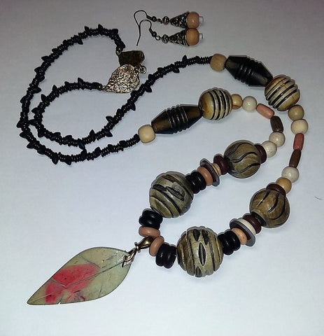 Wood ~ Nature's Beautiful Contribution to this Necklace Set-Adornments by BJ