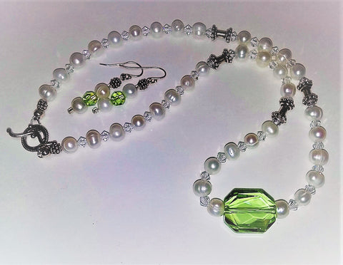 White Pearls Showcase a Swarovski Green Graphic Crystal-Adornments by BJ