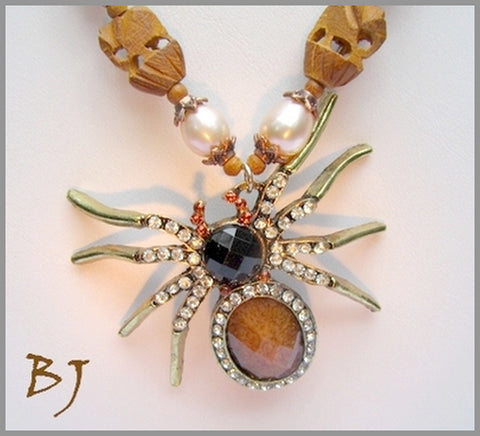 A Gemstone Spider for a Brass, Rhinestone, Pearl and Wood Necklace Set-Adornments by BJ