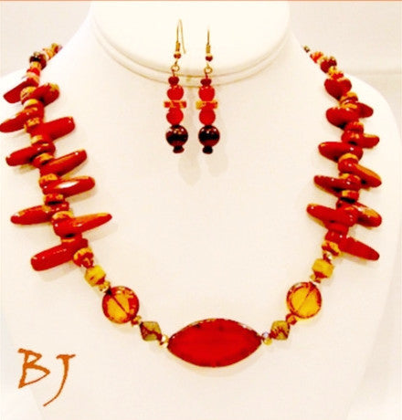 Beautiful Red Jasper is Paired with Greek Ceramic Beads-Adornments by BJ