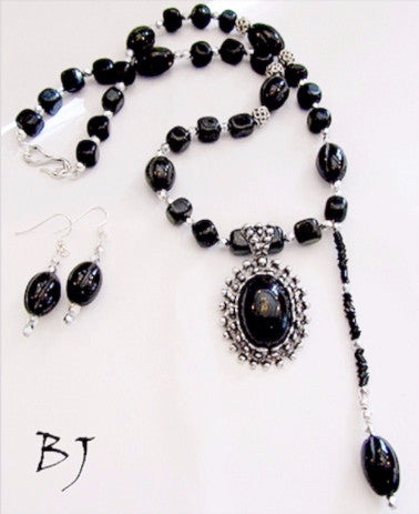 Blackstone Necklace Set ~ Your 'Must Have' Color for your Wardrobe-Adornments by BJ