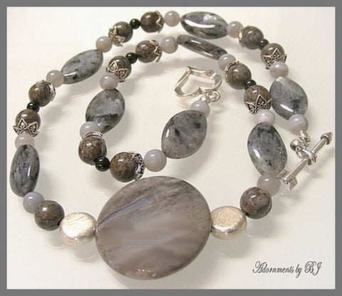 Chalcedony, Larvikite, Grey Lace Agate and Matching Gems Necklace Set-Adornments by BJ