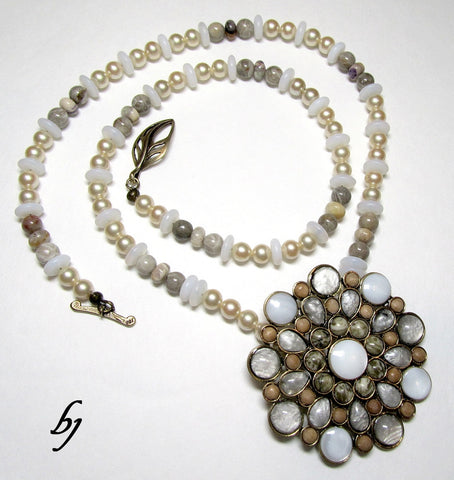Chrysanthemum Look-Alike Necklace Set-Adornments by BJ