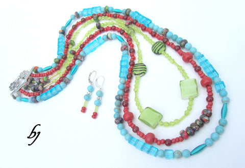 Colorful and Bright ~ Necklace Set-Adornments by BJ