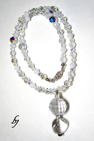 Crystal Brilliance in a Designer Bridal Necklace Set-Adornments by BJ